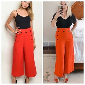 DO + BE flame red high waisted flared pants